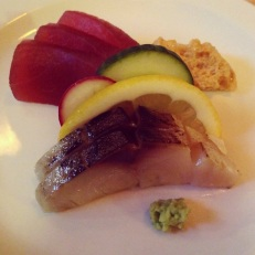 Tuna & Mackerel Sashimi with Fresh Wasabi and Soy Foam.