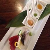 NEW Tuna & Mackerel Sashimi with Soy Foam, Matcha Salt, and Sumiso Sauce.