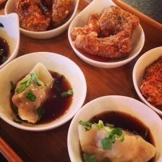 Handmade Pork & Chive Dumplings & Popcorn Chicken