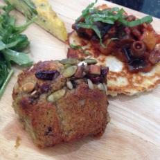 Gluten Free Hulk Muffin and Buckwheat & Ricotta Fritter Pancake with Eggplant Caponata.