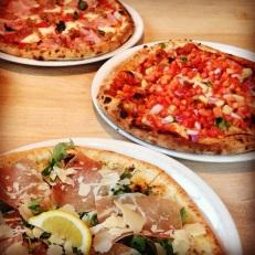 Prosciutto & Arugula, BBQ Chicken, & Siciliana Pizzas